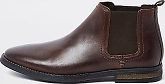 72aa92847d0 River Island Mens Dark brown leather Chelsea boots
