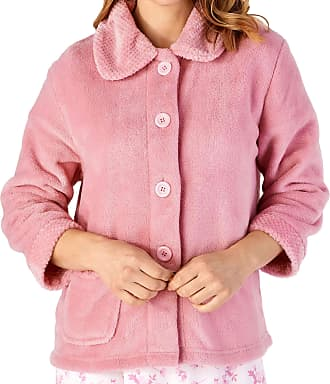 Slenderella Ladies 3/4 Sleeve XXX Large Soft Pink Soft Coral Fleece Button Up Bed Jacket Coat Size 28 30