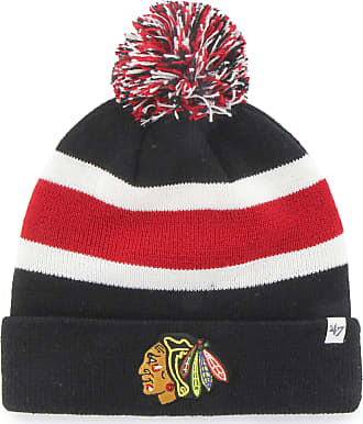 47 Brand Chicago Blackhawks - Logo Breakaway Black And Red Pom Pom Beanie