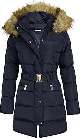 Shelikes Womens Fashion Puffa Long Parka Jacket (Navy, 12)