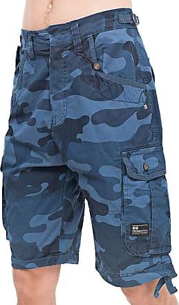 Crosshatch Mens Knee Length Combat Cargo Chino Cotton Shorts (32, Jimster - Navy Camo)