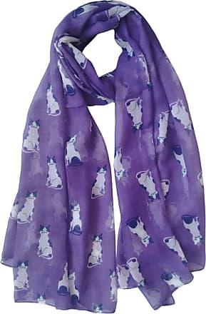 GlamLondon Womens New Cats Print Scarf (Purple)(Size: Large)