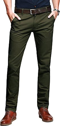 OCHENTA Mens Casual Slim-Tapered Flat-Front Trousers Amy Green Lable 36