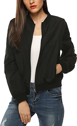 Zeagoo Womens Classic Quilted Jacket Short Padded Bomber Jacket Coat (Black) (Medium)