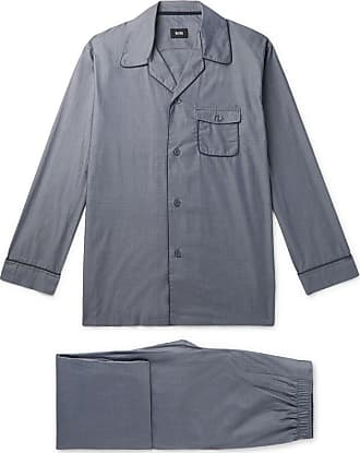 HUGO BOSS Contrast-tipped Cotton Pyjama Set - Dark gray