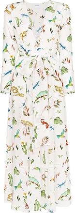 We are Leone mixed-print silk robe - Branco