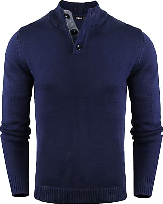 iClosam Mens Pullover Sweater Stand Collar with Buttons Blue