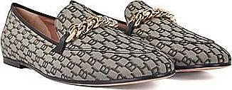 BOSS Monogramm-Loafers mit goldfarbener Kette und Lederbesatz