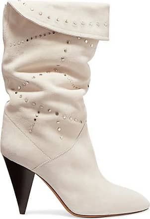 89e7baaf849 Isabel Marant Lestee Studded Suede Knee Boots - White