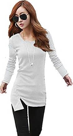 Asymmetrisch Pullover Tunika Shirt Longshirt mit Reißverschluss Kakao M