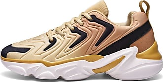 LanFengeu Men Trainers Platform Round Toe Anti Slip Lace up Sport Shoe Outdoor Casual Walking Jogging Fitness Running Shoes Gold