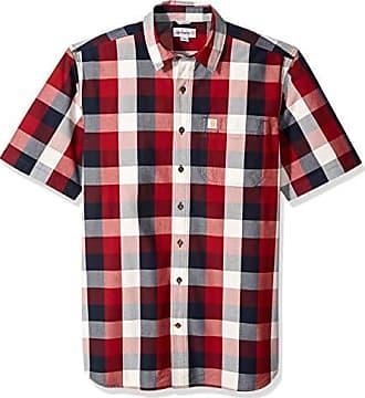 Carhartt Work in Progress Mens Big Big & Tall Essential Plaid Open Collar Short Sleeve Shirt, 639-Sun-Dried Tomato, 2X-Large/Tall