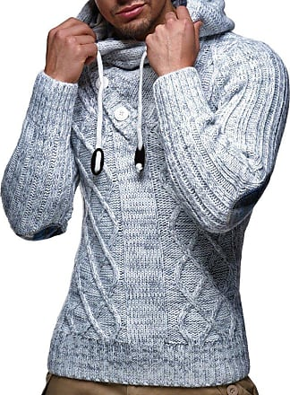 LEIF NELSON Mens Pullover Knit Sweater Hooded Hoodie LN-10346 Grey XXX-Large