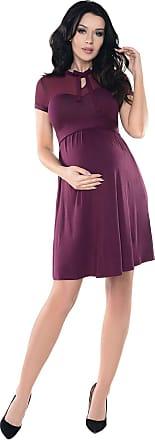 Purpless Maternity Sheer Mesh Teardrop Keyhole Bow Tie Pregnancy Dress D016 (18, Plum)