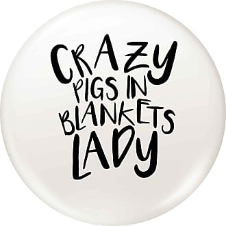 Flox Creative Small 25mm Pin Badge Crazy Pigs in Blankets Lady