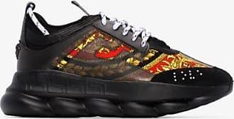 Versace Mens Black Multicoloured Chain Reaction Sneakers