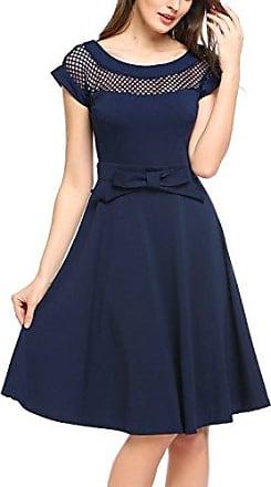 9ff42539914133 Parabler Damen 51s Vintage Rockabilly Kleid mit Spitzen Kurzarm  Cocktailkleid Rundhals Skaterkleid Knielang Partykleid A-