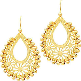 Tinna Jewelry Brinco Dourado Gota Margarida Com Bolinhas