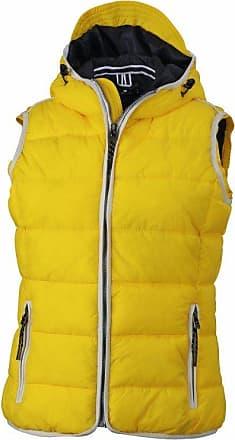 James & Nicholson Womens JN1075 Maritime Padded Gilet Vest Sun-Yellow/White S