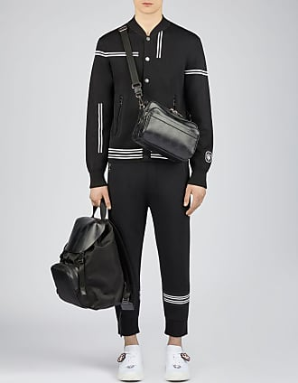 Neil Barrett Travel Irregular Stripe Knit Bomber With Monogram Badge