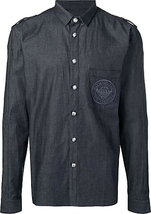 Balmain Cotton shirt with embroidered Balmain medallion - Blue