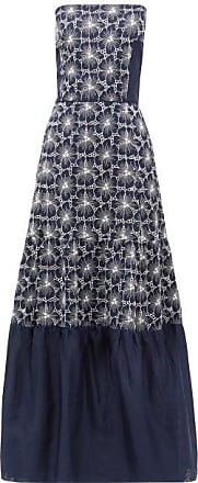 Zeus + Dione Maya Floral-embroidered Strapless Linen Dress - Womens - Blue