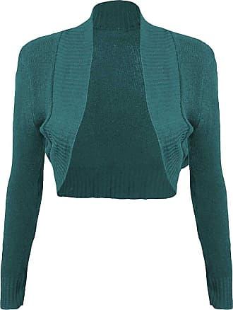 Momo & Ayat Fashions Ladies Girls Knitted Bolero Plain Ribbed Collar Shrug UK Size 8-14 (S/M (UK 8-10), Teal)
