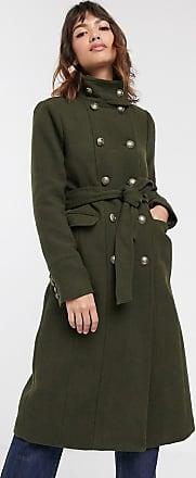 Warehouse funnel neck military tailored coat in khaki-Green