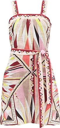 Emilio Pucci Geometric-print Cotton-gauze Mini Dress - Womens - Pink Print