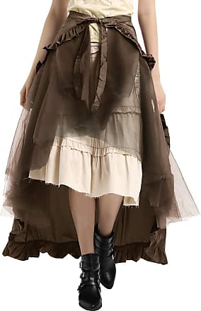 Belle Poque Gothic Steampunk Halloween Skirt Gypsy Hippie Victorian Long Lace Up Ruffled Open Skirt Brown L