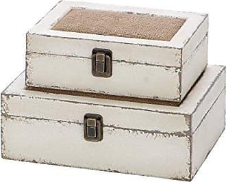 UMA Enterprises Inc. Deco 79 Wood Box, 10 by 8-Inch, White, Set of 2