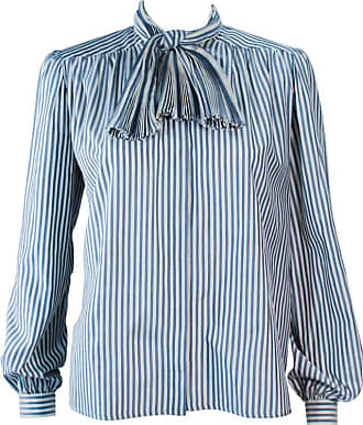 32810fc086153e Valentino Vintage Blue And White Pinstripe Blouse With Pleated Bow Size 6