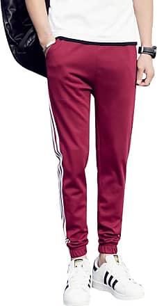 junkai Men Casual Pants Drawstring Elastic high Waist Pants Straight Trousers Jogging Pants Strip Side Pants Wine Red