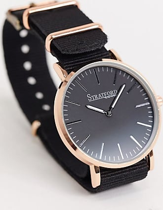 Stratford nylon watch with rose gold detail-Black