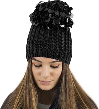 TOSKATOK Ladies Womens Knitted Hat/Beanie with Oversized Sequin Pom Pom Black