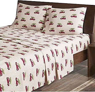 Woolrich Flannel Queen Bed Sheets, Lodge/Cabin Tan Cars Bed Sheet, Bed Sheet Set 4-Piece Include Flat Sheet, Fitted Sheet & 2 Pillowcases