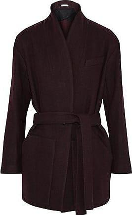 Iro Iro Woman Belted Wool-blend Twill Jacket Merlot Size 36