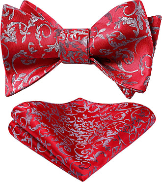 Hisdern Mens Floral Jacquard Self Bow Tie Set One Size Red/Gray