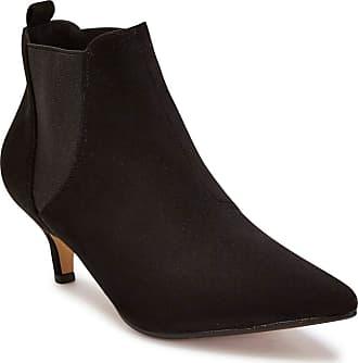 Truffle Womens Black Faux Suede Pointed Kitten Heel Chelsea Ankle Boots - Black - UK 4