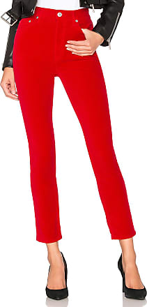 Re/Done Originals Velvet High Rise Ankle Crop in Red