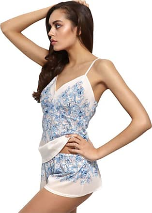 Gossard Womens China Blue Chemises and Negligees, Off-White (Floral Print), 8