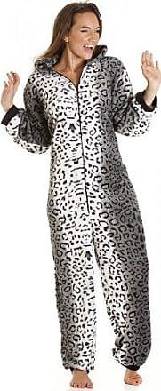 71255309a0 Camille Damen Schlafanzug-Einteiler aus Fleece - Schneeleoparden-Muster -  Größen 36-50