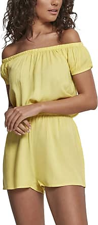 Urban Classics Womens Ladies Off Shoulder Short Jumpsuit, Yellow (Bright-Yellow 01684), One (Size: XXXX-Large)
