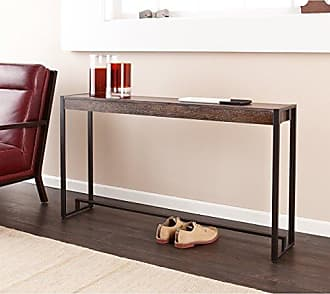 Southern Enterprises Macen Media Skinny Console Table - Slim Profile - Burnt Oak Wood Finish w/ Metal Frame
