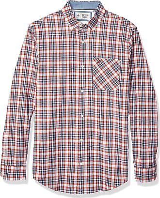 Original Penguin Mens Long Sleeve Plaid Button Down Shirt, Faded Denim Dobby Check, Medium