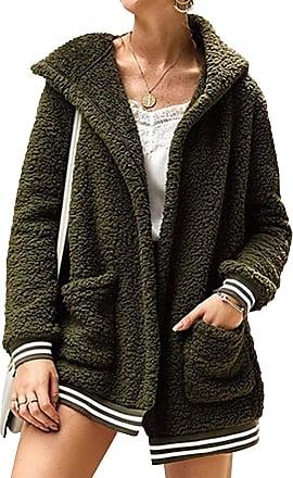 Dresswel Women Fleece Coat Hooded Jacket Open Front Zipped Outerwear Winter Cardigan with Pockets Army Green