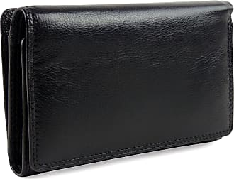 Visconti Ladies Leather Medium Flap Over Purse/Wallet Heritage Gift Boxed (Black)