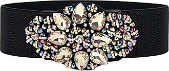 78245e940a6ddc Cheerlife Damengürtel Blumen mit Strass Breiter Gürtel Belt Stretchgürtel  Elastischer Gürtel Taillengürtel Kleidgürtel Gürtelbund Hüftgurt Bunt