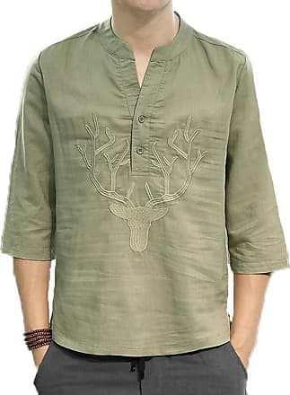 Hellomiko Mens Chinese Style Loose Cotton and Linen Casual Shirt Round Neck Embroidery 3/4 Sleeve Shirt ArmyGreen