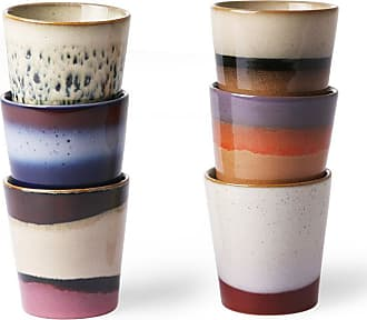 HKliving Ceramic 70s Mugs Set of 6 - ceramic | 7,5 x 7,5 x 8 cm